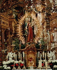 The high altar in Zwiefalten Abbey, combining a Gothic statue of Mary (1430) with Baroque additions by Christian (ca. 1750) Germany Zwiefalten Munster High Altar.jpg
