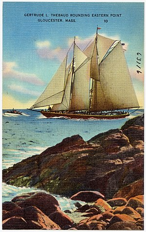Gertrude L. Thebaud - Image: Gertrude L. Thebaud rounding Eastern Point, Gloucester, Mass (63116)