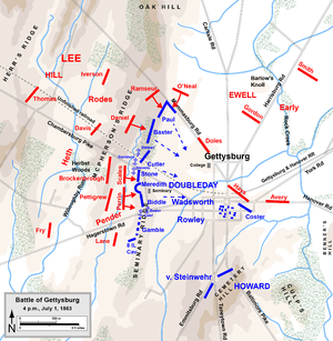 Seminary Ridge - July 1, 1863, at 4:00 p.m.: Union troops (blue) occupied Seminary Ridge.