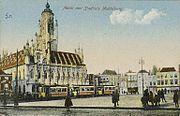 Gezicht op het stadhuis te Middelburg (1905-1915)