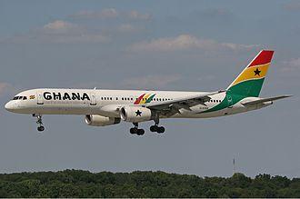 Ghana International Airlines - Boeing 757 at Düsseldorf Airport.