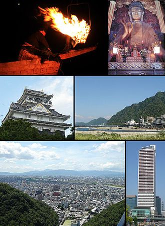 Gifu - Clockwise from top left: Cormorant fishing in Nagara River, Gifu Great Buddha Statue, View of Nagara River and Mount Kinka, Gifu City Tower 43, View of downtown Gifu from Mount Kinka panorama road, Gifu Castle