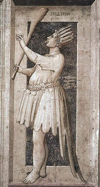 The Fool (Tarot card) - A standard medieval allegory of Foolishness, painted by Giotto from Scrovegni Chapel in Padua.  This depiction resembles the Fool in the earliest surviving painted decks.