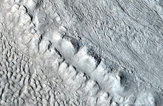 Martian chaos terrain - Image: Glacier close up with hirise