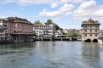 Limmat - Rathausbrücke and Hotel zum Storchen at Weinplatz in Zürich