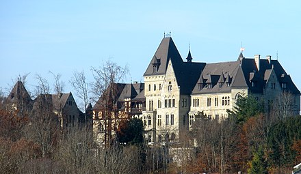 Schloss Cumberland in Gmunden, Austria, built in 1882 as exile seat for Ernest Augustus, Crown Prince of Hanover, 3rd Duke of Cumberland and Teviotdale Gmunden Schloss Cumberland.JPG