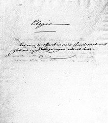 """Das Motto der Marienbader Elegie in Goethes Reinschrift: """"Und wenn der Mensch in seiner Quaal verstummt / Gab mir ein Gott zu sagen was ich leide."""" (Quelle: Wikimedia)"""