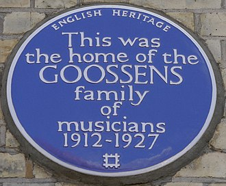 Eugene Aynsley Goossens - Blue plaque, 70 Edith Road, West Kensington, London
