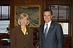 Governor Mitt Romney with Interior Secretary Gale Norton.jpg
