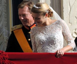 Elie Saab - Stéphanie, Hereditary Grand Duchess of Luxembourg, wearing an Elie Saab bridal gown in 2012.