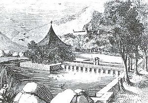 La Granjilla de La Fresneda de El Escorial - One of the ponds of La Granjilla de La Fresneda, in an 1862 drawing by Antonio Rotondo.