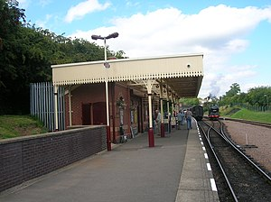 Belgrave and Birstall railway station - The new canopy at Leicester North on 16 August 2009. In the distance is preserved GNR Class N2 Tank 1744, which featured at the official opening ten days previously.