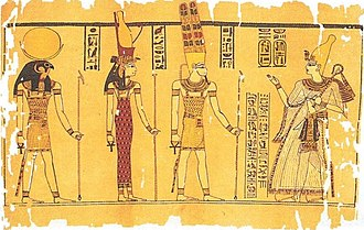 Découvertes Gallimard - The Harris Papyrus painting, depicting Ramesses III before the Theban Triad: Amun, Mut and Khonsu. Image taken from page 91 of this book.