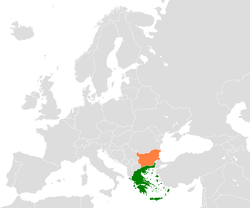 Map indicating locations of Greece and Bulgaria