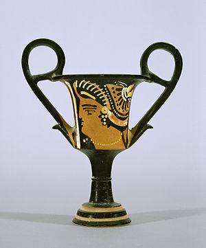 Kantharos - Red-figure Apulian kantharos with a female head, 320–310 BC (Walters Art Museum)