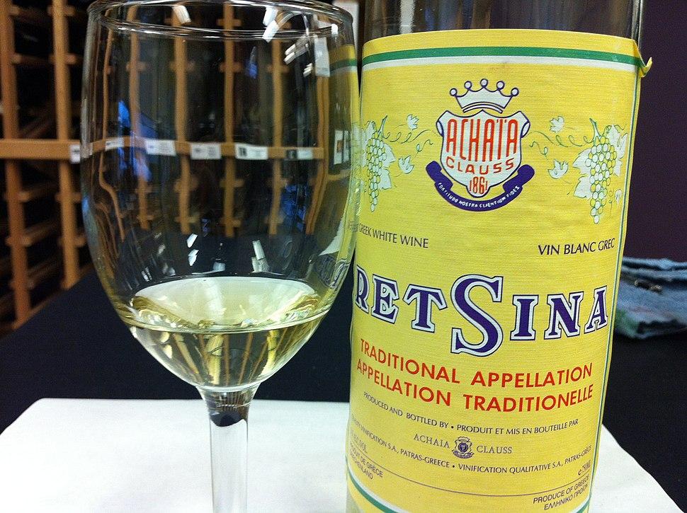 Greek restina wine