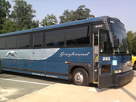 Completely rebuilt and modernized 2000 MCI 102DL3 bus in the new livery, July 2011 Greyhound bus on the way to Washington-1.jpg