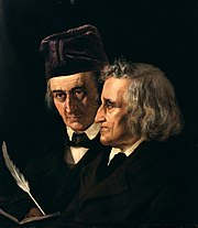 Wilhelm (left) and Jacob Grimm (right) from an 1855 painting by Elisabeth Jerichau-Baumann