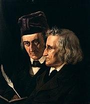 Links Wilhelm Grimm, rechts Jacob Grimm. Ölgemälde von Elisabeth Jerichau-Baumann (1855), Nationalgalerie Berlin (Quelle: Wikimedia)