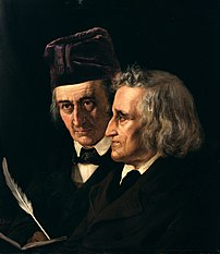 Wilhelm (left) and Jacob Grimm (right) from an 1855 painting by Elisabeth Jerichau-Baumann.