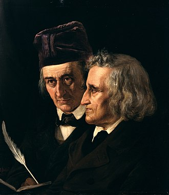 Children's literature - Brothers Grimm, Wilhelm (left) and Jakob Grimm (right) from an 1855 painting by Elisabeth Jerichau-Baumann
