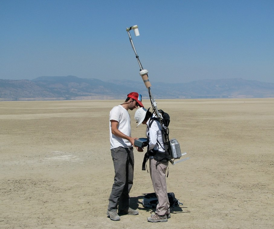 Ground surveying in Surprise Valley, California