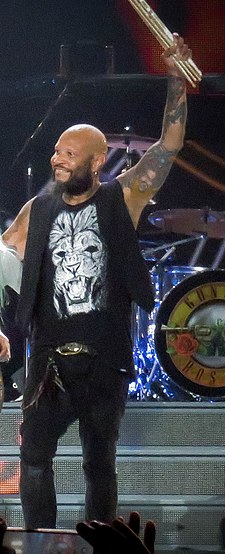 Drummer Frank Ferrer joined the band in 2006. Guns n'Roses Palacio de los Deportes 30-11-2016 (31366316670) (cropped).jpg