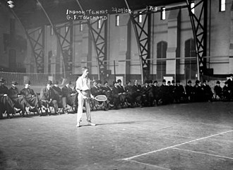 U.S. National Indoor Tennis Championships - Gustave F. Touchard at the 1908 U.S. National Indoor Tennis Championships played in the Seventh Regiment Armory in New York.