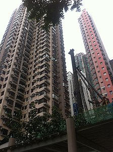 HK Central Kwong Hon Terrace veiw 加冕台 Coronation Terrace 富來閣 Flora Court n 嘉景臺 Corona Tower Jan-2012.jpg