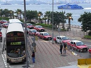 HK Sheung Wan 中港道 Chung Kong Road bus 182 stop Taxi queue May-2012 evening.JPG