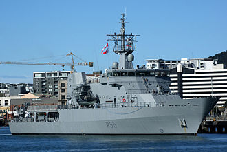 Royal New Zealand Navy - HMNZS Wellington in port at Wellington