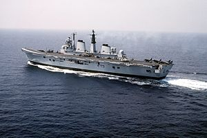 """Varyl Begg - The aircraft carrier HMS ''Invincible'', the first of the """"through-deck cruisers"""" that Begg advocated as First Sea Lord"""