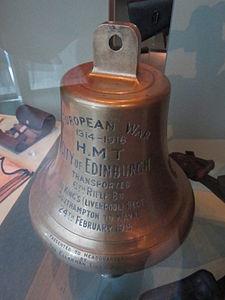 HMT City of Edinburgh ship's bell, Museum of Liverpool.jpg
