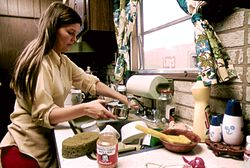 HOUSEWIFE IN THE KITCHEN OF HER MOBILE HOME IN ONE OF THE TRAILER PARKS. THE TWO PARKS WERE CREATED IN RESPONSE TO... - NARA - 558298.jpg