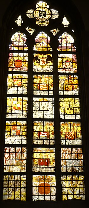 Gemeenlandshuis van Rijnland - Heraldic shields of the Hoogheemraadschap van Rijnland members in 1691, the year that this church window was donated by the Water Board to the church in Lisse, currently located in the St. Bavochurch.