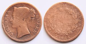 Cent (currency) - Obverse: Crowned head left with lettering Queen Victoria.