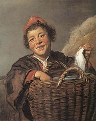 Fisher boy with a basket in a landscape