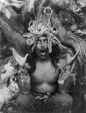 Jeanne Achterberg - Hamatsa shaman after having spent several days in the woods as part of an initiation ritual.