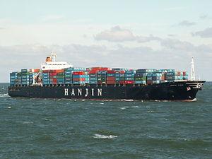 Hanjin Irene IMO 9021693approaching Port of Rotterdam, Holland 10-Aug-2005.jpg
