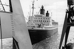 RMS Empress of Japan (1929) - Hanseatic landing the port of Cuxhaven at Steubenhoeft in summer 1961