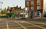 Hanwell Broadway on the junction of Uxbridge Road, with Cherington Road and Boston Road.