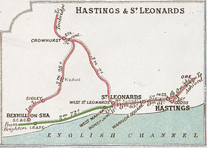 Hastings railway station - A 1914 Railway Clearing House Junction Diagram showing lines around Hastings
