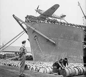 CAM ship - The Hawker Sea Hurricane W9182 on the catapult of a CAM ship