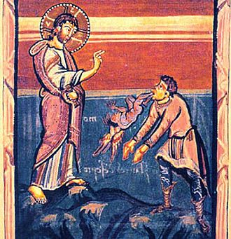 Unclean spirit - Medieval illustration of Jesus casting out the unclean Gerasene demon