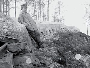 Hegra Fortress - The fortress' trench line during construction