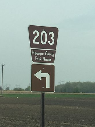 County roads in Hennepin County, Minnesota - Sign for Park Access Road 203 near Crow-Hassan Park Reserve.