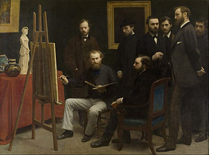Homage to Cézanne - A Studio at Les Batignolles, Henri Fantin-Latour, 1870. Musée d'Orsay, Paris. A possible antecedent for Homage to Cézanne.