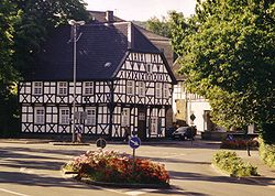 An old timber framing house at the town entrance