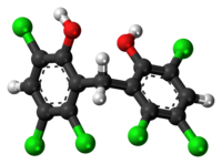 Ball-and-stick model of the hexachlorophene molecule