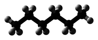 Skeletal formula - The 3d ball representation of hexane, with carbon (black) and hydrogen (white) shown explicitly.